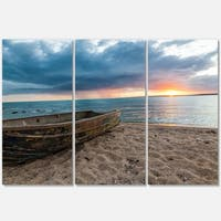 Rusty Row Boat on Sand at Sunset - Extra Large Seascape Metal Wall At - 36Wx28H
