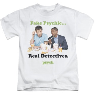 Psych/Take Out Short Sleeve Juvenile Graphic T-Shirt in White