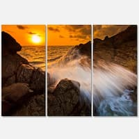 Sunset Sea Wave Impact Rocks at Sunset - Extra Large Seascape Metal Wall At - 36Wx28H