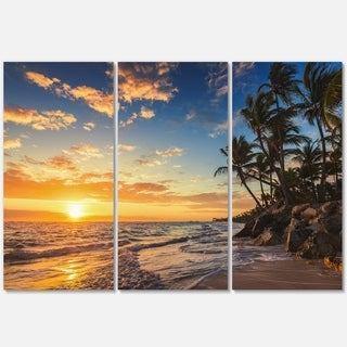 Paradise Tropical Island Beach with Palms - Extra Large Seascape Metal Wall At - 36Wx28H