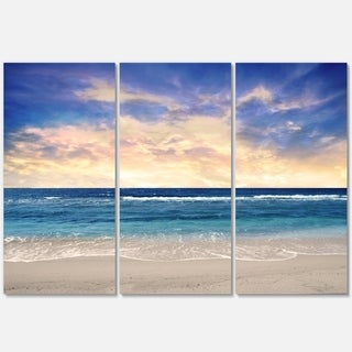 Clear Blue Sky and Ocean at Sunset - Extra Large Seascape Metal Wall At - 36Wx28H