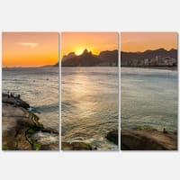 Ipanema in Rio de Janeiro Sunset - Extra Large Seascape Metal Wall At - 36Wx28H