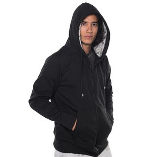 Men's Black Cotton/Polyester Fleece Jacket