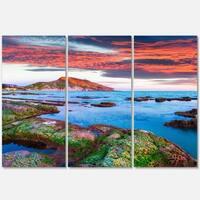 Colorful Giollonardo Beach Sunset - Modern Seashore Metal Wall At - 36Wx28H