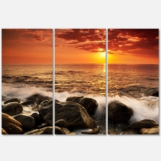 Bright Sunset over Rocky Shore - Modern Seashore Metal Wall At - 36Wx28H