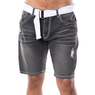 Men's Black Denim Ripped Belted Baggy Shorts