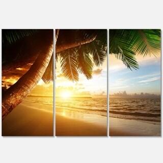 Beautiful Beach under Palms - Modern Seashore Metal Wall At - 36Wx28H
