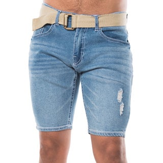 Men's Blue Denim Ripped Belted Shorts