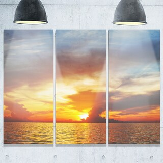 Fiery Sky at Sunset Over Sea - Modern Seashore Metal Wall At - 36Wx28H