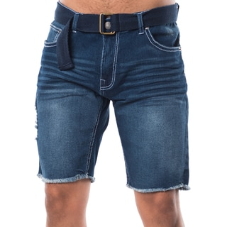 Men's Slightly Ripped Soft Denim 5-pocket Belted Shorts and Cuffing
