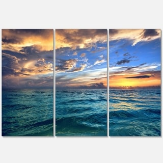Exotic Tropical Beach at Sunset - Modern Seashore Metal Wall At - 36Wx28H