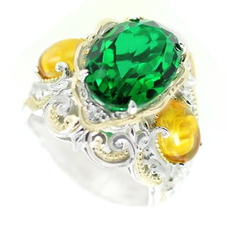 One-of-a-kind Michael Valitutti Emerald Quartz with Carved Amber Flower and White Sapphire Cocktail Ring