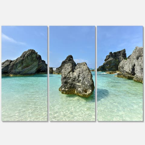 Horseshoe Bay Cove Bermuda - Oversized Beach Metal Wall At - 36Wx28H - 36 in. wide x 28 in. high - 3 panels