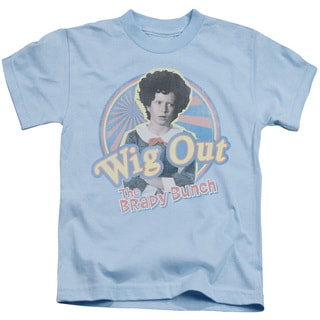 Brady Bunch/Wig Out Short Sleeve Juvenile Graphic T-Shirt in Light Blue