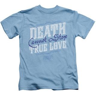 Princess Bride/Love Over Death Short Sleeve Juvenile Graphic T-Shirt in Carolina Blue