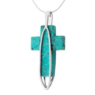 Sterling Silver Turquoise Cross Pendant Necklace - Blue