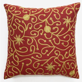 Red/Gold/Off-white/Brown Polyester Thread-embroidered Throw Pillow