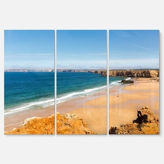 Serene Rocky Bay Portugal - Extra Large Seashore Metal Wall At - 36Wx28H