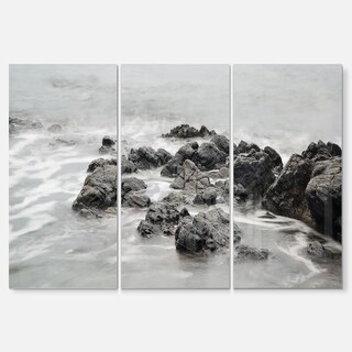 Black and White Rocky Coastline - Extra Large Seashore Metal Wall At - 36Wx28H