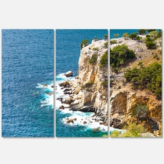 Rocky Cliff Coast Thassos Greece - Extra Large Seashore Metal Wall At - 36Wx28H