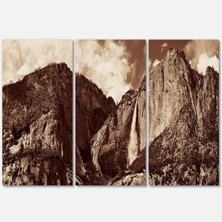 Yosemite Waterfall Panorama - Extra Large Seashore Metal Wall At - 36Wx28H