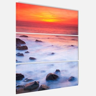 Bright Red Rocky Coast Sunset - Extra Large Seashore Metal Wall At - 36Wx28H