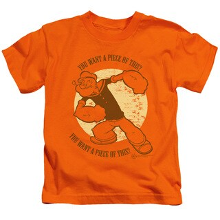 Popeye/You Want A Piece Of This Short Sleeve Juvenile Graphic T-Shirt in Orange