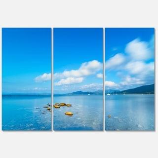 Rocks in a Blue Panoramic Sea Bay - Extra Large Seashore Metal Wall At - 36Wx28H