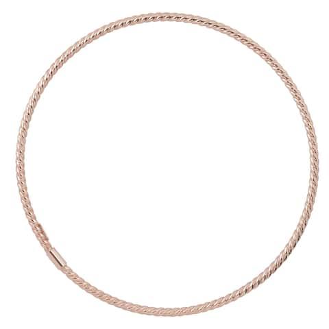 Fremada Italian 14k Gold 2-mm High Polish Twist Design Slip-On Bangle Bracelet