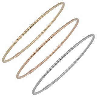 Fremada Italian 14k Gold 2-mm High Polish Twist Design Slip-On Bangle Bracelet