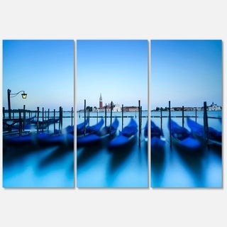 Venice Gondolas at Blue Sunset - Extra Large Seashore Metal Wall At - 36Wx28H
