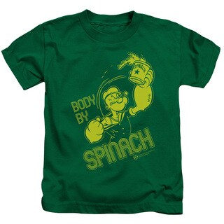 Popeye/Body By Spinach Short Sleeve Juvenile Graphic T-Shirt in Kelly Green