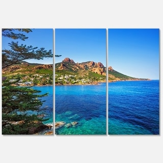 Esterel Rocks Beach Coast in Blue - Extra Large Seashore Metal Wall At - 36Wx28H