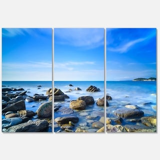 Baratti Bay Rocks in Waters at Sunset - Extra Large Seashore Metal Wall At - 36Wx28H