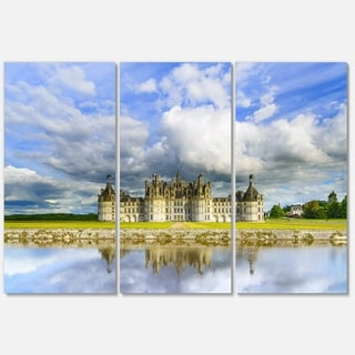Chateau De Chambord Castle and Reflection - Extra Large Seashore Metal Wall At - 36Wx28H