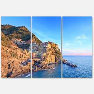 Manarola Village Cinque Terre Italy - Extra Large Seashore Metal Wall At - 36Wx28H