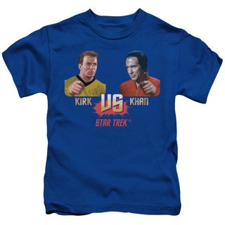 Star Trek/Kirk Vs Khan Short Sleeve Juvenile Graphic T-Shirt in Royal