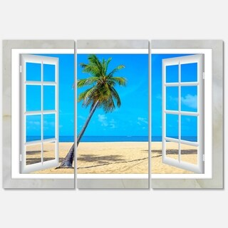 Open Window to Beach with Palm - Extra Large Seashore Metal Wall At - 36Wx28H