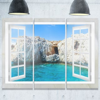 Window Open to Sunny Summer Sea - Extra Large Seashore Metal Wall At - 36Wx28H