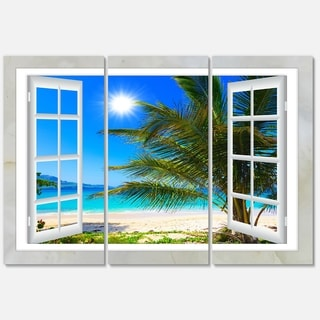 Window Open to Beach with Palm - Extra Large Seashore Metal Wall At - 36Wx28H