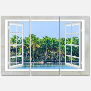 Open Window to Seashore Palms - Extra Large Seashore Metal Wall At - 36Wx28H