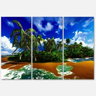Paradise Beach in Hawaii Island - Modern Seascape Metal Wall At - 36Wx28H