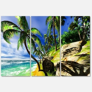 Palms in Hawaii Island Beach - Modern Seascape Metal Wall At - 36Wx28H