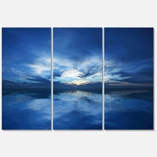 Blue Waters and Blue Sky Sunset - Modern Seascape Metal Wall At - 36Wx28H