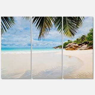 Summer Beach with Palm Leaves - Modern Seascape Metal Wall At - 36Wx28H