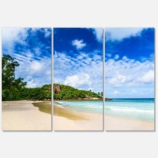 Seychelles Tranquil Tropical Beach - Modern Seascape Metal Wall At - 36Wx28H