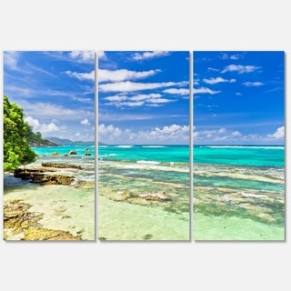 Tranquil Seychelles Tropical Beach - Modern Seascape Metal Wall At - 36Wx28H