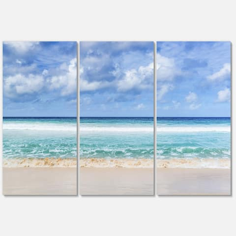Tranquil Beach under White Clouds - Modern Seascape Metal Wall At - 36Wx28H - 36 in. wide x 28 in. high - 3 panels
