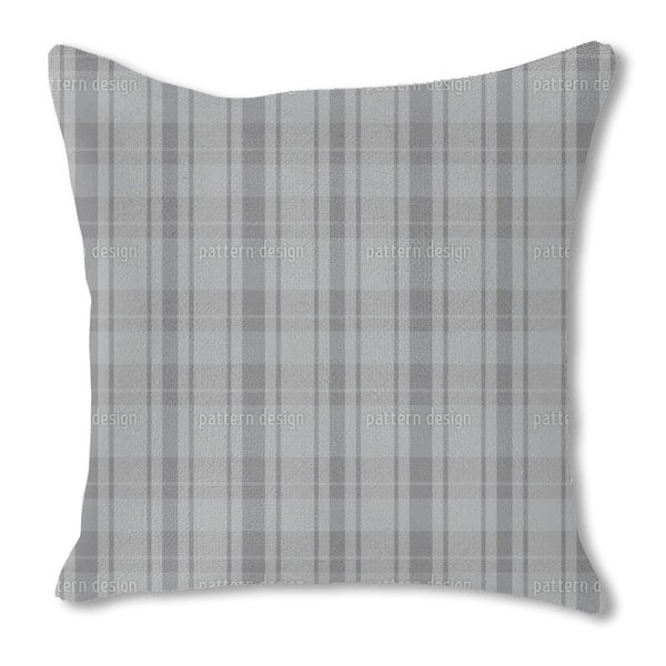 Tartan Grey Burlap Pillow Single Sided