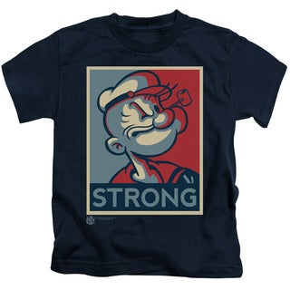 Popeye/Strong Short Sleeve Juvenile Graphic T-Shirt in Navy